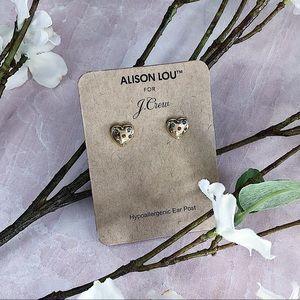 J CREW Alison Lou x J. Crew Heart Shaped Earrings